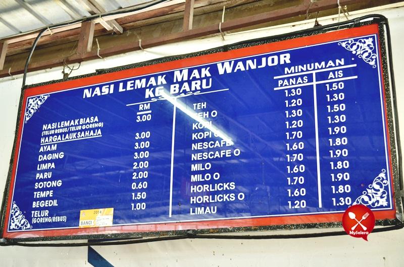 Harga Nasi Lemak Mak Wanjor, Kampung Baru