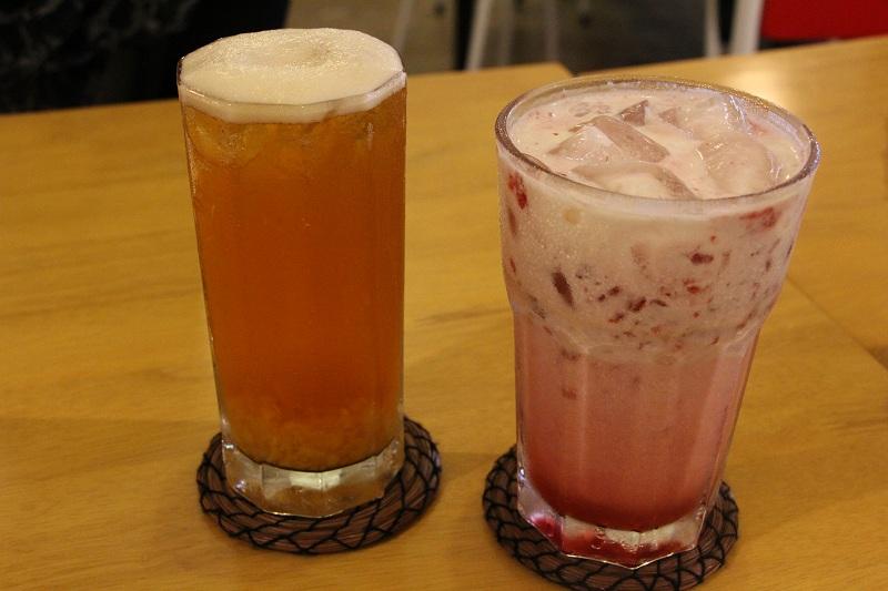 Peach Passion + Raspberry Italian Creme Soda with Raspberry Bits